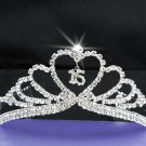 Fancy Silver Crystal Occasion Tiara;Delicate 15 or 16 Birthday Tiara;Fashion Hair accessories#10633