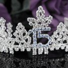 Silver Crystal Occasion Tiara;Delicate 15 or 16 Birthday Tiara;Fancy Fashion Hair accessories#1059b