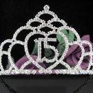 Elegance 15 Birthday Tiara;Silver Crystal Occasion Tiara;Fancy Fashion Hair accessories#1032