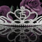 fancy 15 Birthday Tiara;Silver Crystal Occasion Tiara;Fancy Fashion Hair accessories#1027