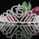 Elegance 15 Birthday Tiara;Silver Crystal Occasion Tiara;Fancy Fashion Hair accessories#1024