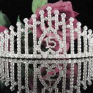 Elegance 15 or 16 Birthday Tiara;Silver Crystal Occasion Tiara;Fancy Fashion Hair accessories#1020