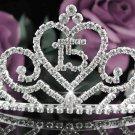 Huge Elegance 15 Birthday Tiara;Silver Crystal Occasion Tiara;Fancy Fashion Hair accessories#1015