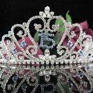 Elegance 15 Birthday Tiara;Crystal Occasion Tiara;Fancy Fashion Hair accessories#1010