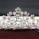Floral 15 Birthday Tiara;Occasion Crystal Tiara;Fancy Fashion Hair accessories#1355gr