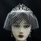Bridal Veil ;Crystal Silver Pearl Bride Headband;Bridesmaid Tiara;Opera Hair accessories #8980