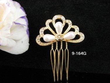 Opera Tiara;Bridal Comb; Golden Teen Girl Comb ;Bride Tiara;Bridesmaid Hair accessories #164g