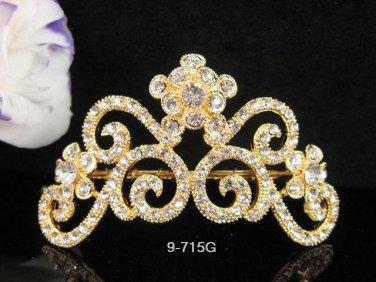Bridesmaid Hair accessories ;Opera Tiara;Bridal Comb; Golden Teen Girl Comb ;Bride Tiara#715g