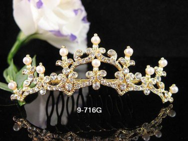 Bridesmaid Hair accessories ;Opera Tiara;Bridal Comb; Golden Teen Girl Comb ;Bride Tiara#716s