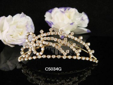 Bridesmaid Hair accessories ;Opera Tiara;Bridal Comb;Golden Teen Girl Comb ;Bride Tiara#5034g