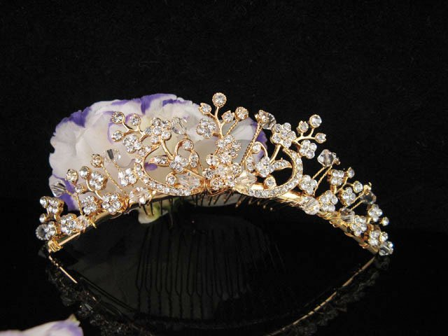 Bridesmaid Hair accessories ;Opera Tiara;Bridal Comb;Golden Teen Girl Comb ;Bride Tiara#5970g