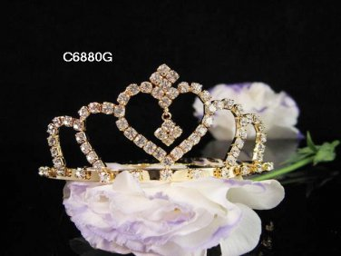 Bridesmaid Hair accessories ;Opera Tiara;Bridal Comb;Golden Teen Girl Comb ;Bride Tiara#6880g
