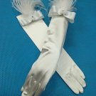 Occasion Elbow Gloves; Fashion Accessories;Satin Ivory Bridal Gloves;Wedding Bride Accessories#98i