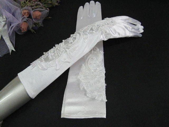 Elbow Gloves; Fashion Accessories;Satin Pattern White Bridal Gloves;Wedding Bride Accessories#31