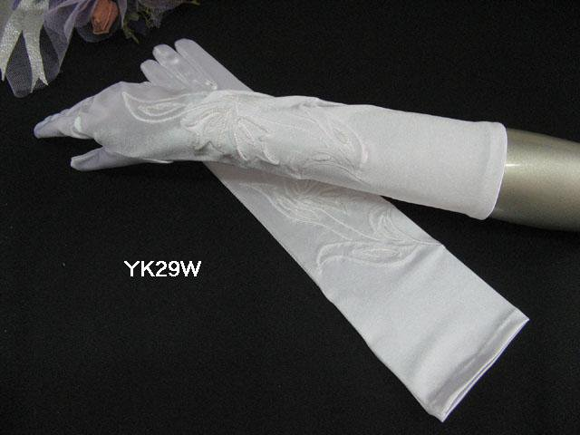 Elbow Gloves; Fashion Accessories;Satin Pattern White Bridal Gloves;Wedding Bride Accessories#29