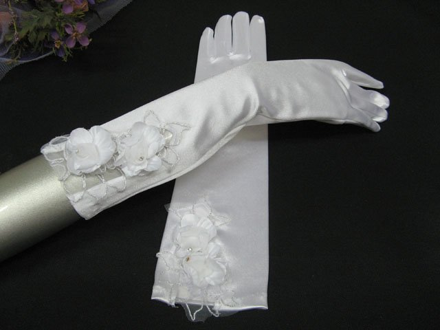 Elbow Gloves; Fashion Accessories;Floral lace satin Bridal Gloves;Wedding Bride Accessories#52w