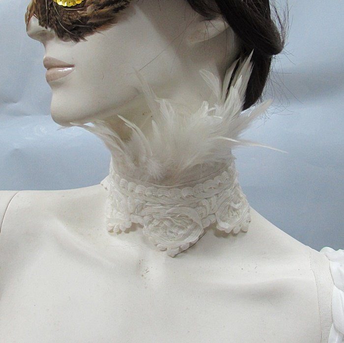 Bridal or dancer occasion accessories; Feather collar ;Dramatic Feather Choker;Fluffy Necklace#6