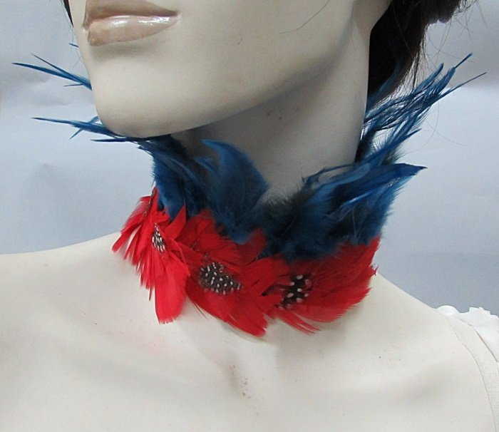 Feather collar ; Bridal or dancer occasion accessories;Dramatic Feather Choker;Fluffy Necklace#9