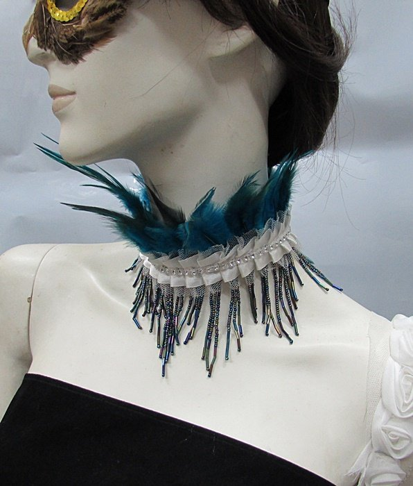 Fluffy Feather Necklace;Feather collar;Bridal ;dancer occasion accessories;Feather Choker#13
