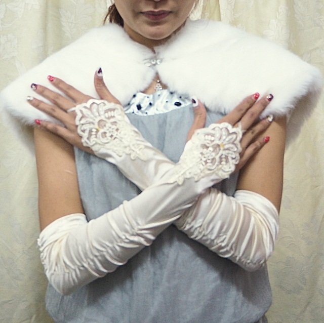 Elbow Gloves; Fashion Accessories;Floral lace satin Bridal Gloves;Wedding Bride Accessories#64i