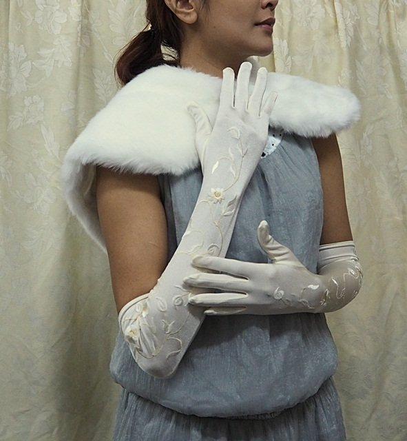 Elbow Gloves; Fashion Accessories;Floral lace satin Bridal Gloves;Wedding Bride Accessories#234i