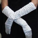 Elbow Gloves; Fashion Accessories;white Satin Bridal Gloves;Wedding Bride Accessories#22w