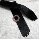 Elbow Gloves; Fashion Accessories;Black Satin Bridal Gloves;Wedding Bride Accessories#7bk