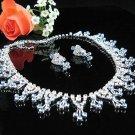 Chevron Blue Wedding Choker set ;Bridal Tiara;Bridesmaid accessories;Bride Necklace set#4499b