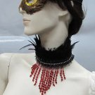 Handmade Beaded Turkey Feather Choker;Fashion Necklace;Wedding Accessories#f8