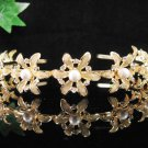 Foral Golden Wedding Headpiece ;Opera Dancer Tiara;Bridesmaid Hair accessories#3663g