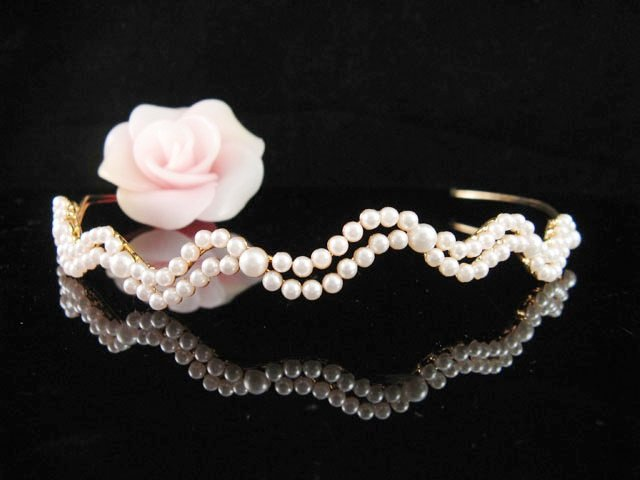 Serpent Pearl Golden Wedding Headband ;Opera Dancer Tiara;Bridesmaid Hair accessories#5496g
