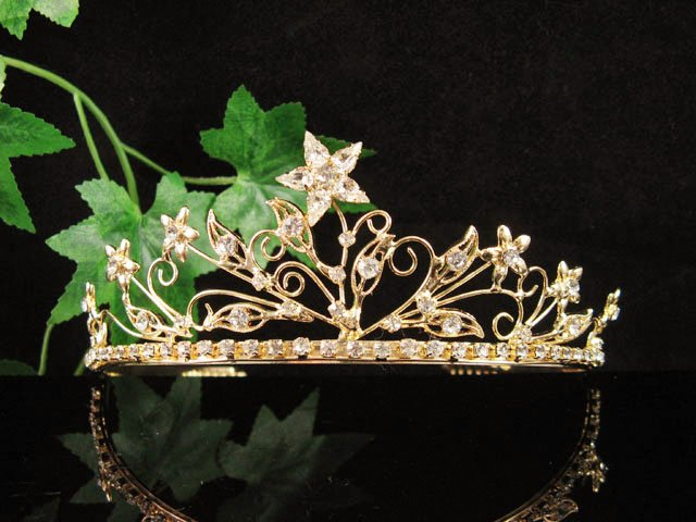 Floral Golden Wedding Headband ;Opera Dancer Tiara;Bridesmaid Hair accessories#5664g