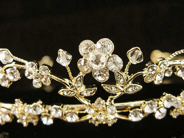Alloy Glamour Golden Wedding Headpiece ;Opera Dancer Tiara;Bridesmaid Hair accessories#1175g