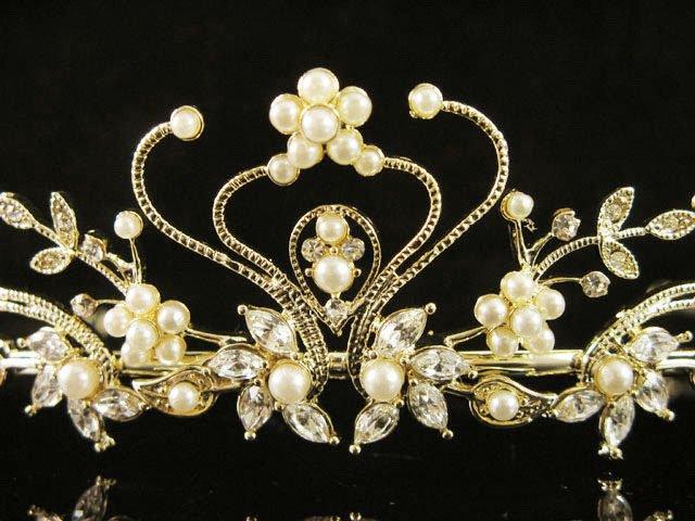Alloy Glamour Golden Wedding Headpiece ;Opera Dancer Tiara;Bridesmaid Hair accessories#1291g