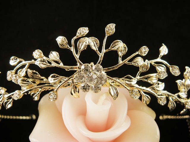 Floral Glamour Birthday Headpiece ;Bride Regal;Dancer Tiara;Party Occasion Hair accessories#1294g