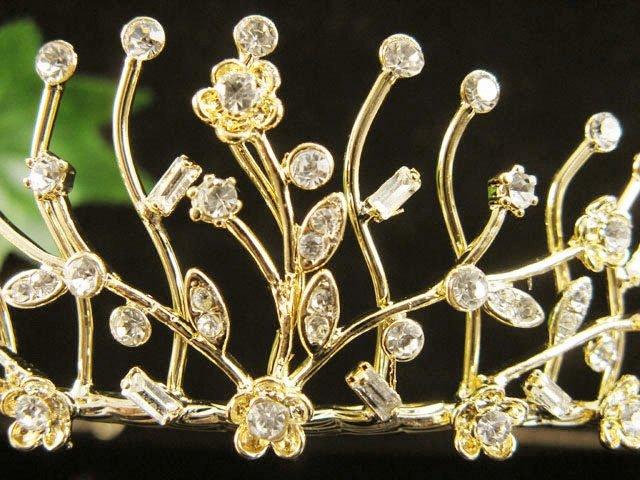 Floral Glamour Birthday Headpiece ;Bride Regal;Dancer Tiara;Party Occasion Hair accessories#1370g