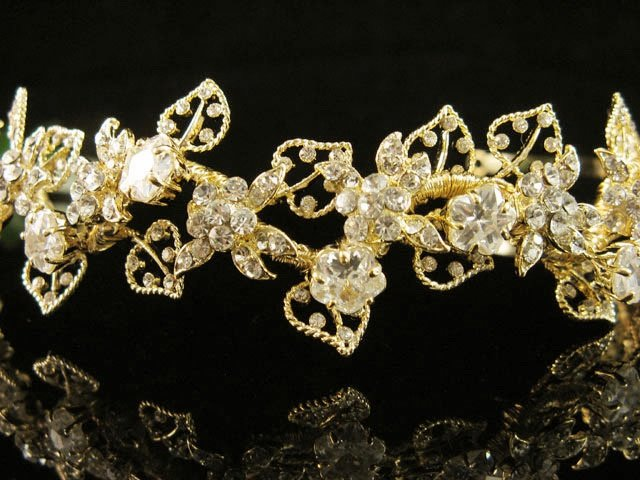 Floral Glamour Wedding Headband ;Crystal Bride Regal Tiara;Party Occasion Hair accessories#1404g