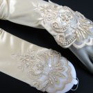 "14""satin finger-less ivory bridal gloves,french lace ivory pearl wedding gloves #14i"