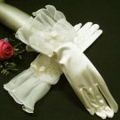 "11"" cute floral ivory bridal gloves;short organza wedding gloves;opera;dancer Accessories #7i"