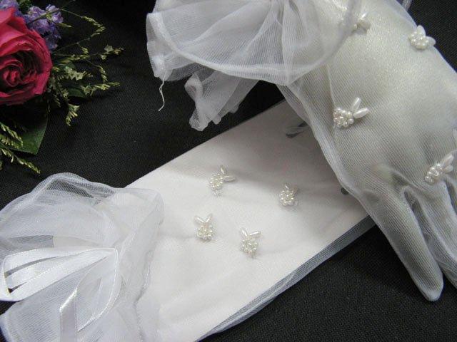 white wrist bridal gloves;Pearl organza wedding gloves;opera;dancer Accessories #25w