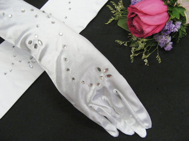 elegance White satin bridal gloves; rhinestones wedding gloves;opera;dancer Accessories #88w