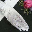 elegance White satin bridal gloves; rhinestones wedding gloves;opera;dancer Accessories #88w