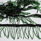 "Handmade 72"" green short all glass beaded fringe ;opera dancer parts ;garment accessories#24gr"