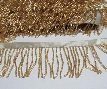 "Handmade 72"" golden short all glass beaded fringe ;opera dancer parts ;garment accessories#26g"