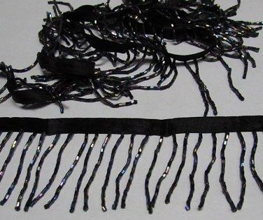 "Handmade 38"" AB black short all glass beaded fringe ;opera dancer parts ;garment accessories#26g"