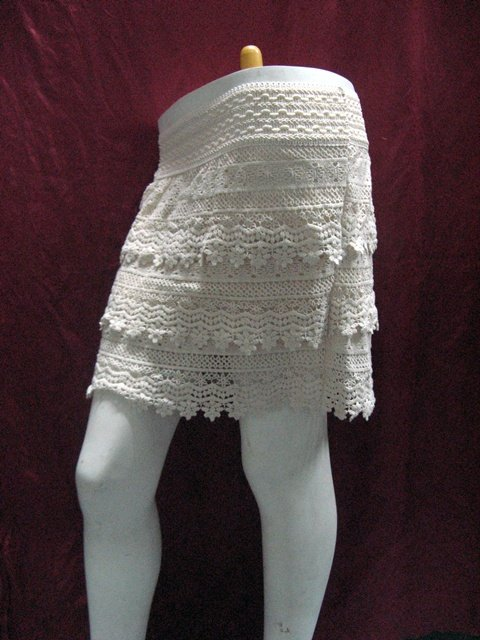 Handmade cute ivory knitted lining skirt; girl party occasion dress; woman accessories#2