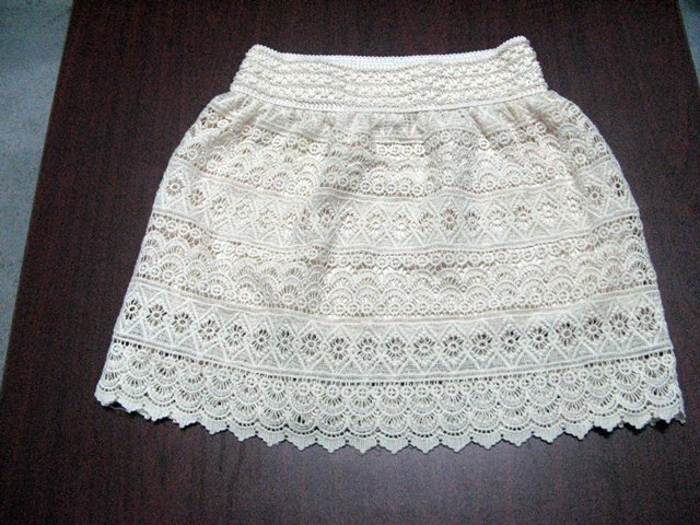 Handmade cute ivory floral lace knitted lining skirt; girl party occasion dress; woman accessories#1