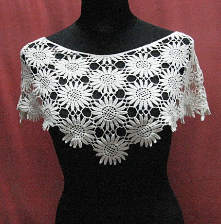 Handmade cute ivory floral lace knitted top; party occasion blouse; woman accessories#6