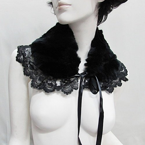 Handmade french lace faux fur black collar;party occasion Halloween parts ; woman accessories#4
