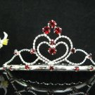 Handmade sweetheart Bridal silver red crystal comb veil,wedding tiara headpiece accessories #1327R
